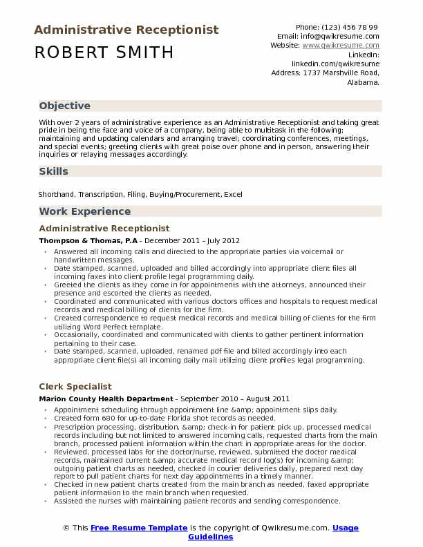 administrative receptionist resume samples qwikresume examples of summary for pdf Resume Examples Of Resume Summary For Receptionist