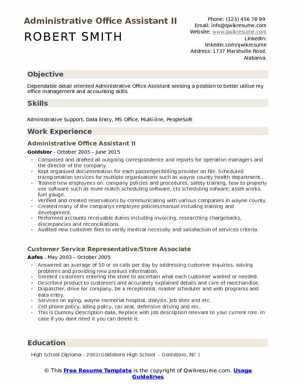 administrative resume samples examples and tips good heading for office assistant pdf Resume Good Heading For A Resume