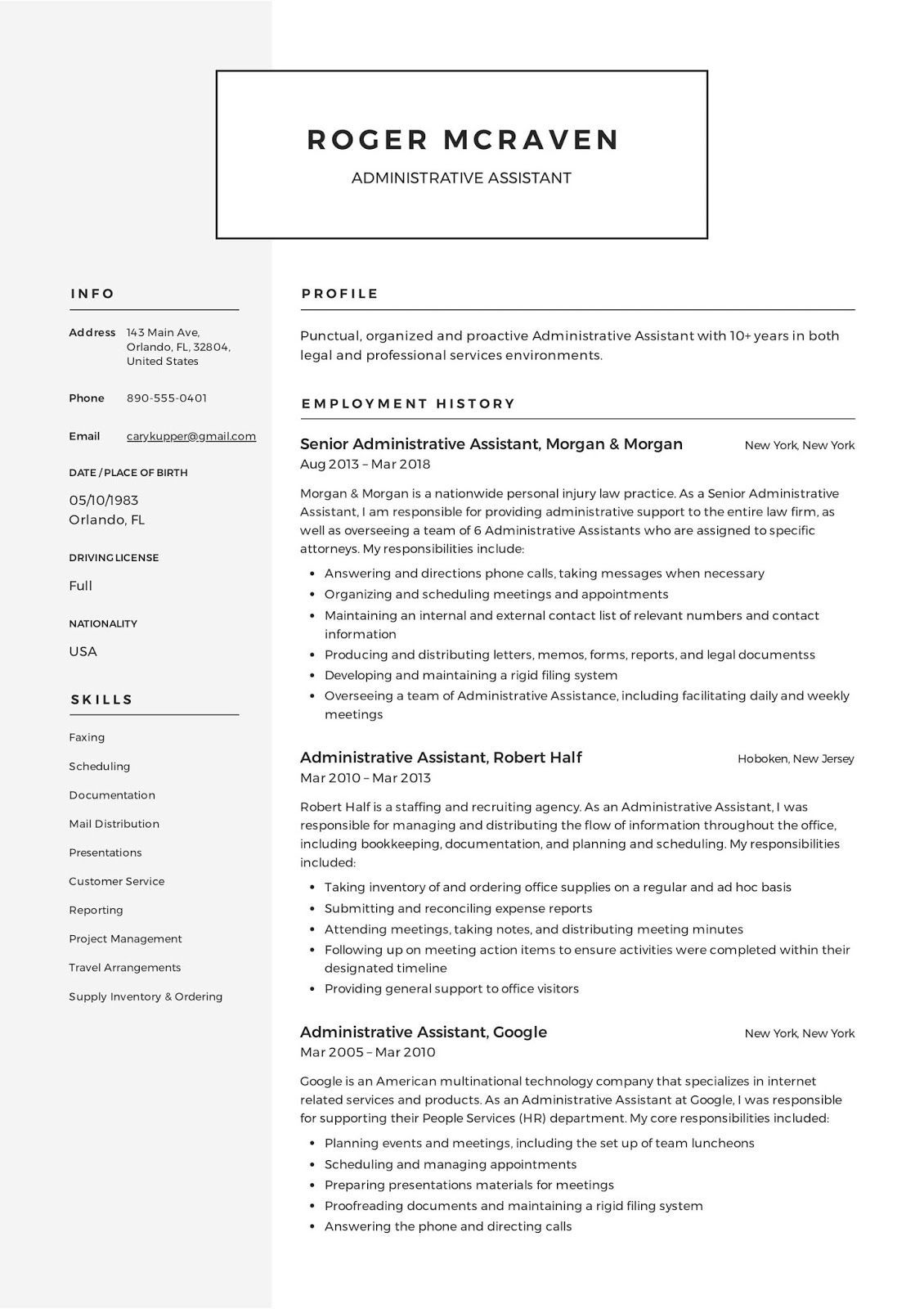 administrative resume template free microsoft word assistant event planner office manager Resume Free Administrative Assistant Resume Templates