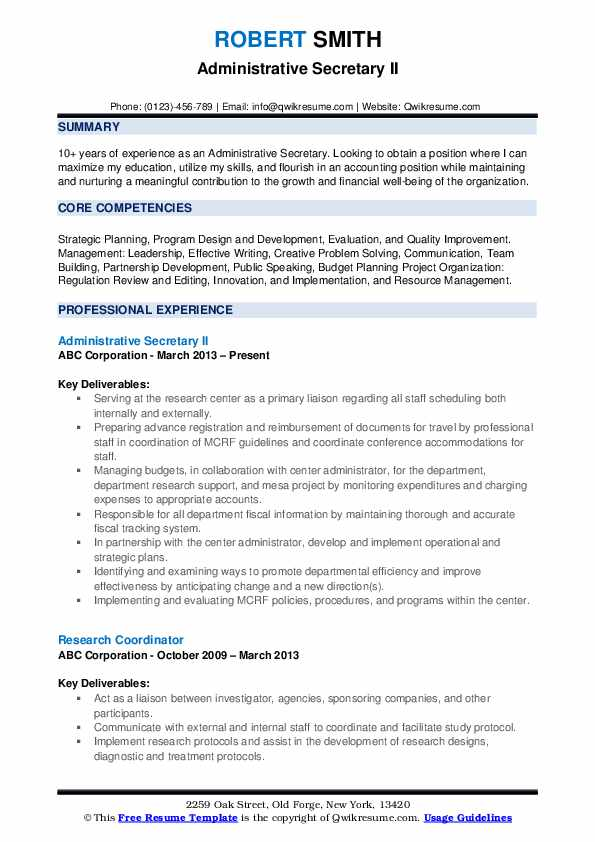 administrative secretary resume samples qwikresume job description of for pdf headline Resume Job Description Of A Secretary For Resume