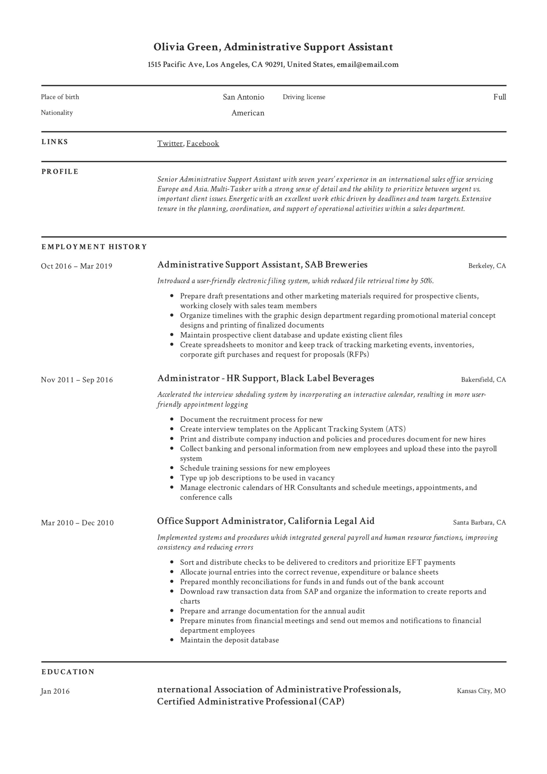 administrative support assistant resume guide pdf resumes title olivia german format Resume Administrative Assistant Resume Title