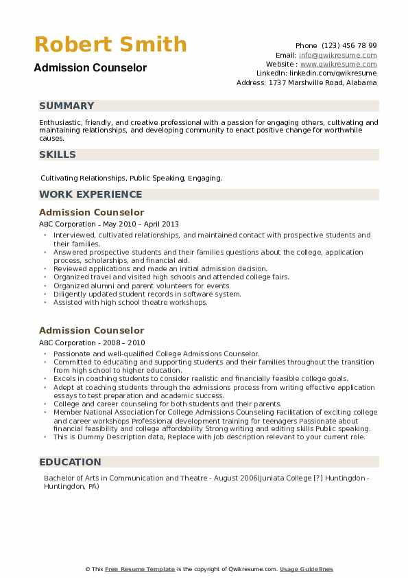 admission counselor resume samples qwikresume creative for college application pdf job Resume Creative Resume For College Application