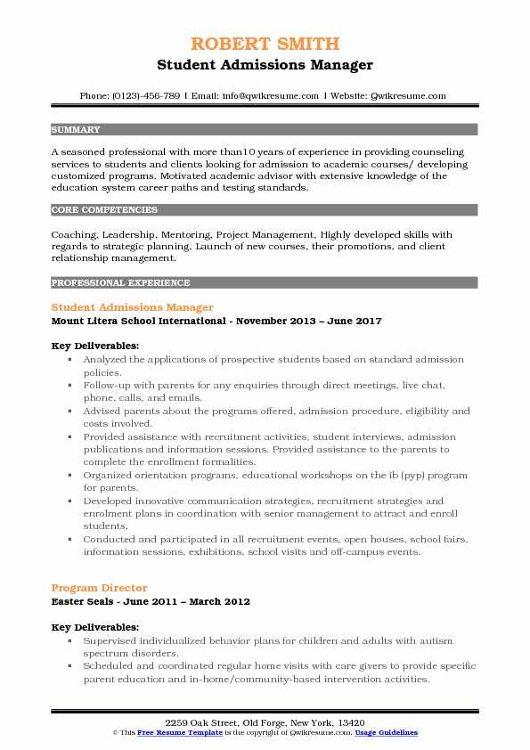 admissions manager resume samples qwikresume child for school admission pdf adzuna chief Resume Child Resume For School Admission