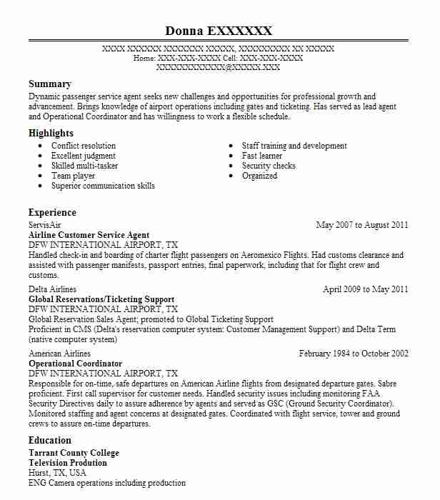 airline customer service agent resume example livecareer ticketing executive sample Resume Ticketing Executive Resume Sample