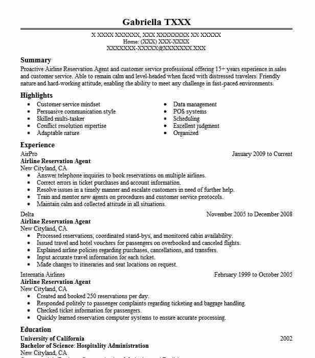airline reservation agent resume example livecareer ticketing executive sample call Resume Ticketing Executive Resume Sample