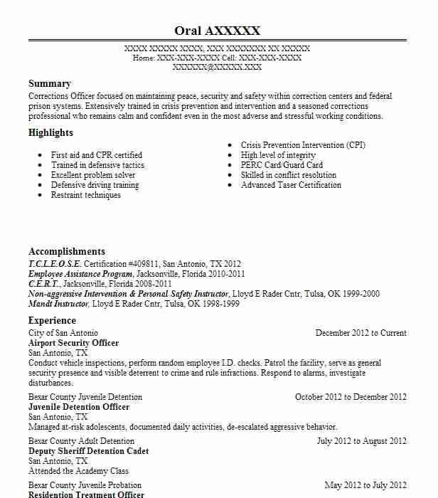 airport security officer resume example resumes livecareer objective best templates Resume Airport Security Resume Objective