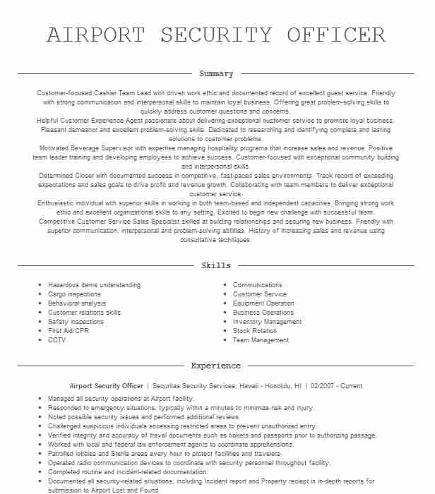 airport security officer resume example resumes livecareer objective microsoft word Resume Airport Security Resume Objective