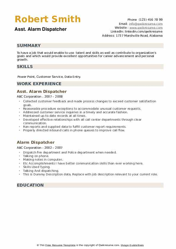 alarm dispatcher resume samples qwikresume pdf security guard job description sample home Resume Alarm Dispatcher Resume