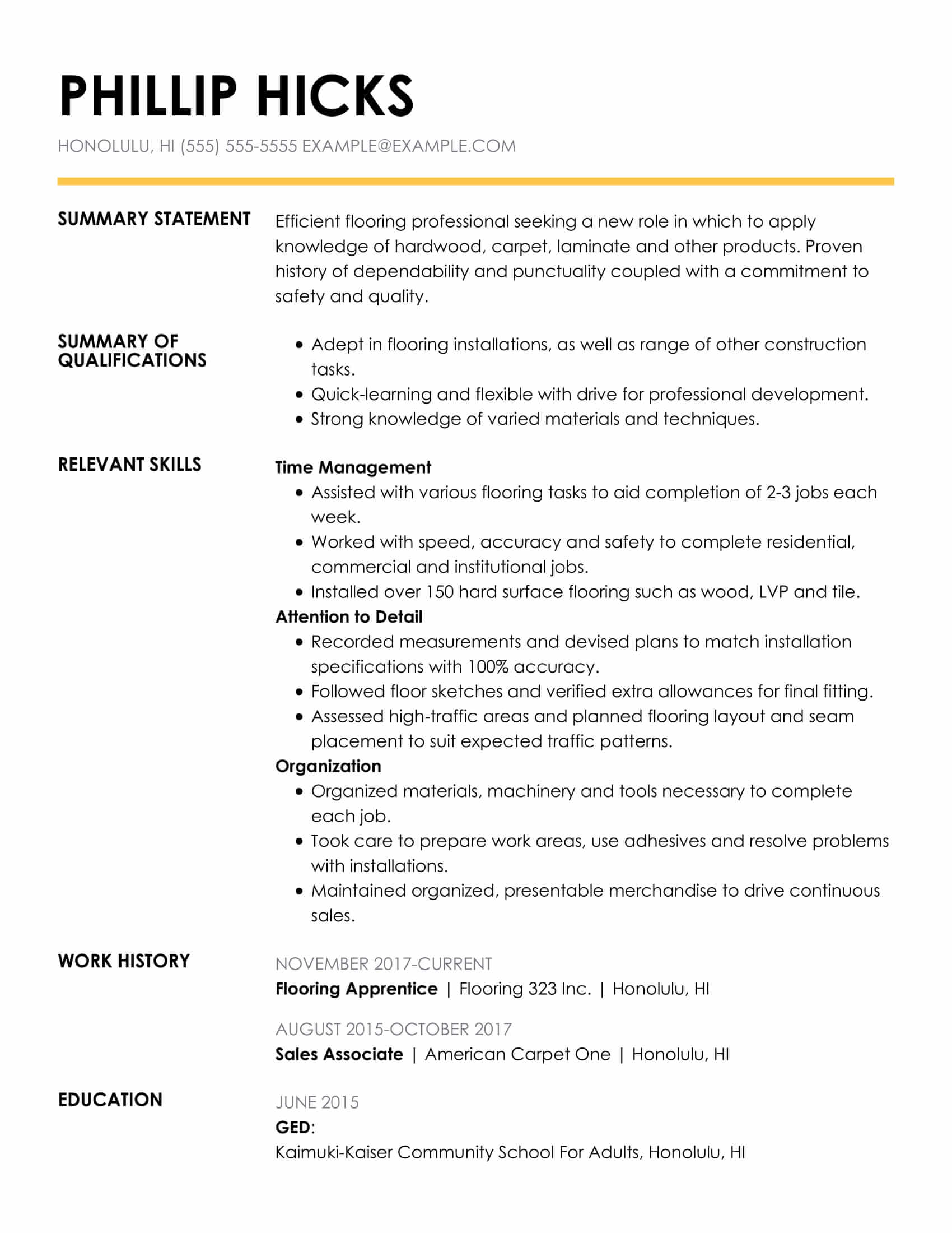 amazing construction resume examples livecareer strong insightful func flooring installer Resume Strong Resume Examples 2017
