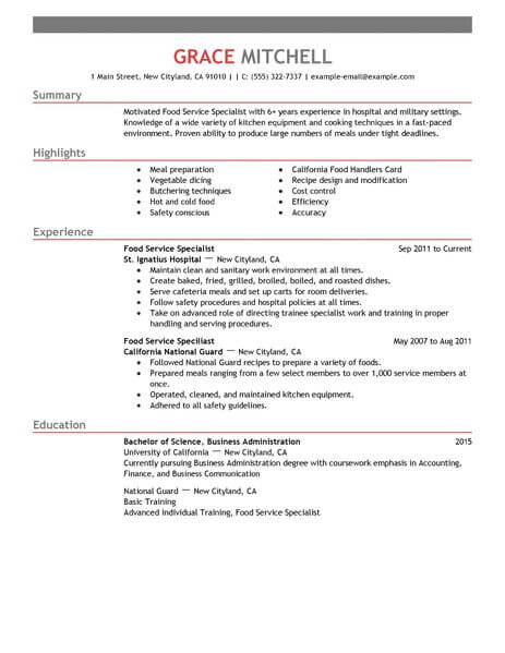 amazing customer service resume examples livecareer experience food specialist example Resume Service Experience Resume