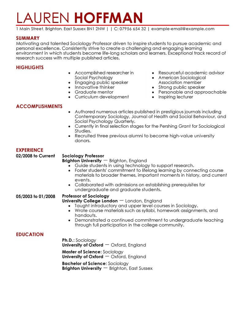amazing education resume examples livecareer experience professor contemporary high Resume Education Experience Resume