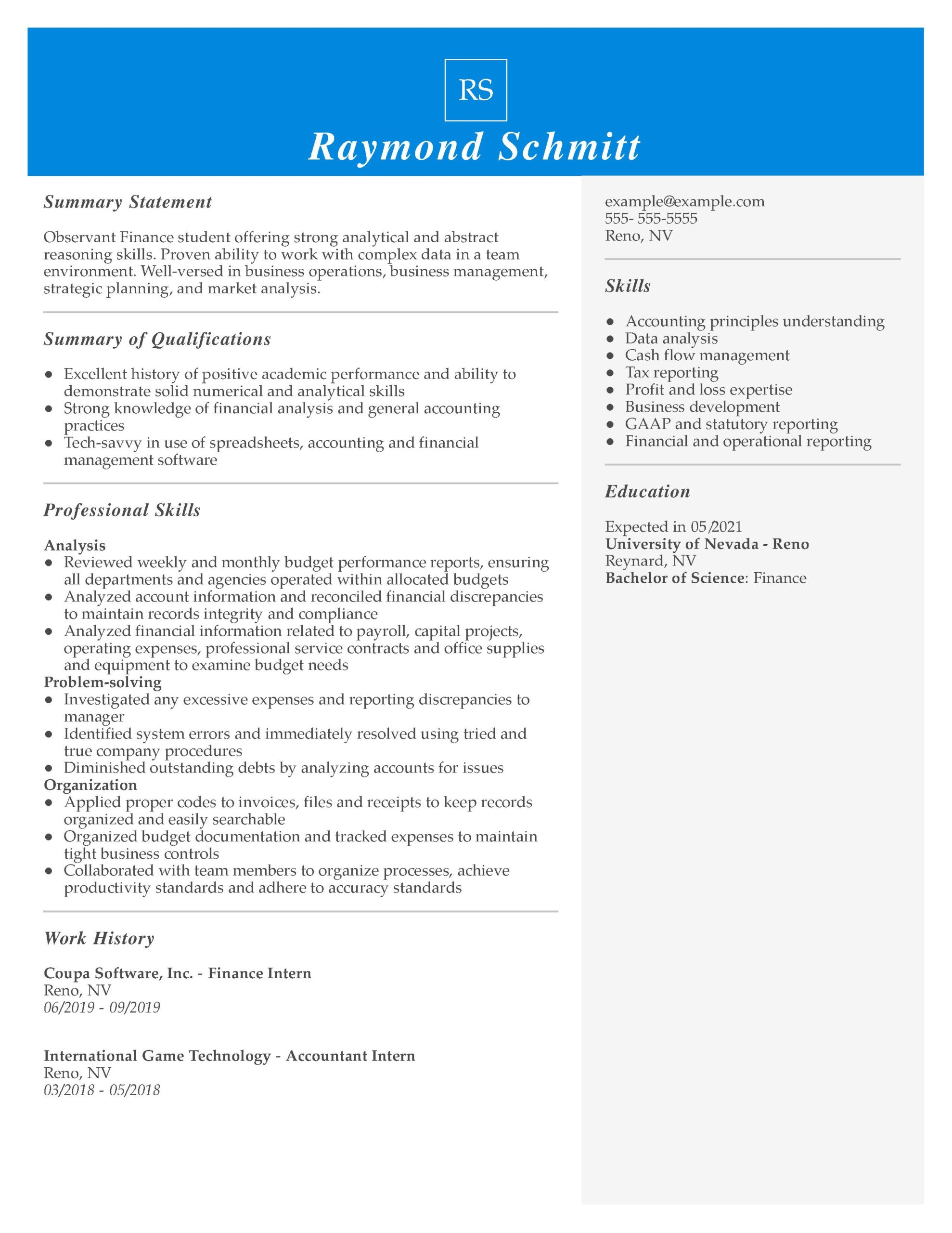 amazing finance resume examples livecareer chronological template intern managerial funcd Resume Chronological Resume Template 2021