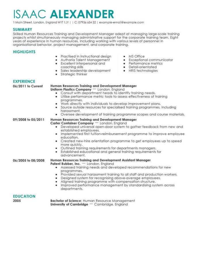 amazing human resources resume examples livecareer resource management example training Resume Resource Management Resume Example