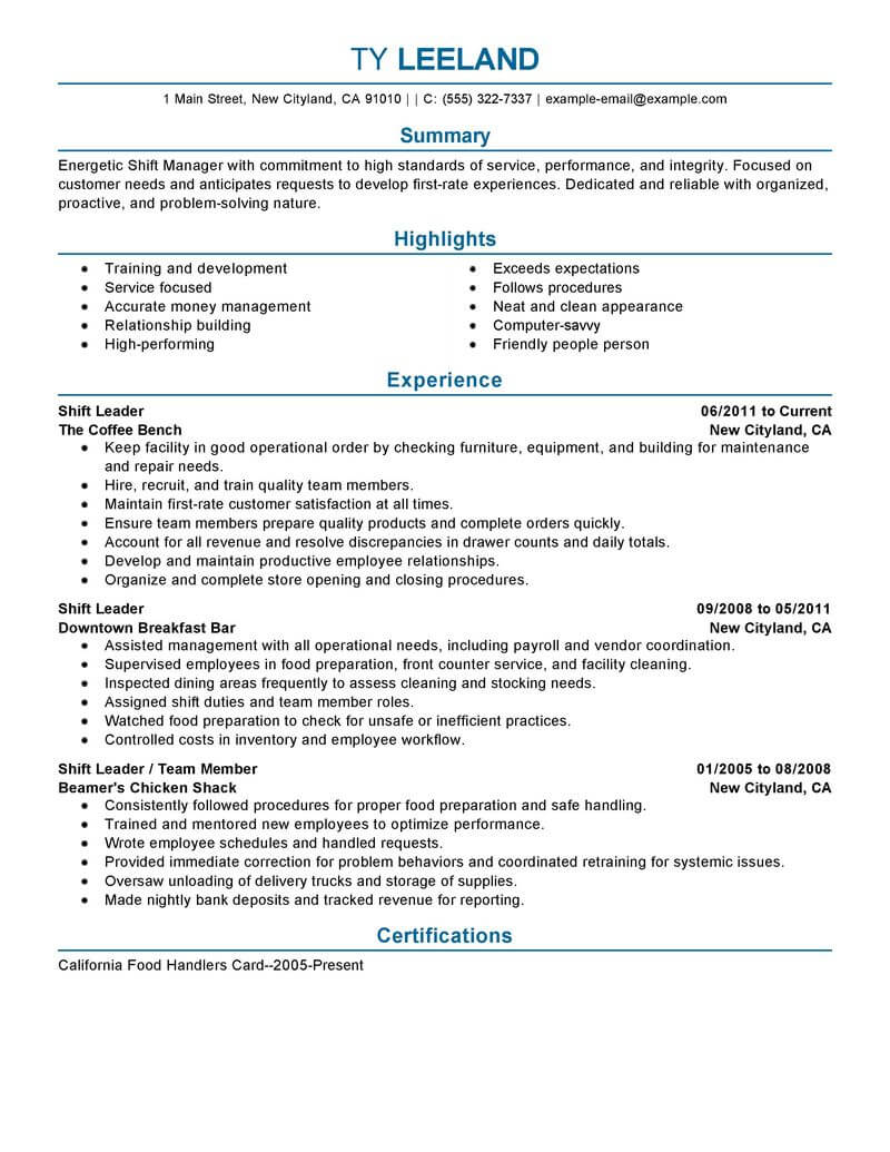 amazing management resume examples livecareer for positions hourly shift manager Resume Resume Examples For Management Positions