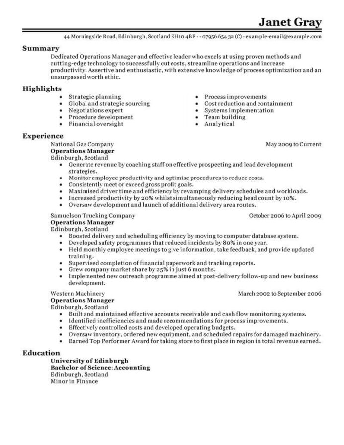 amazing management resume examples livecareer for positions operations manager classic Resume Resume Examples For Management Positions