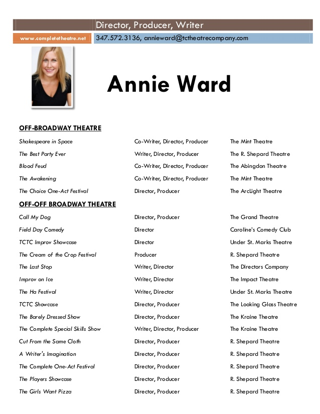 annie theatre production resume theater producer wards cost effective example of customer Resume Theater Producer Resume