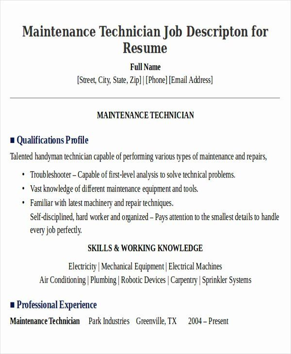 apartment maintenance technician resume luxury sample examples in word job samples nurse Resume Apartment Maintenance Technician Resume Summary