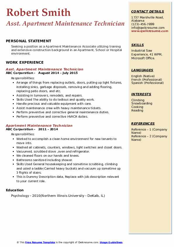 apartment maintenance technician resume samples qwikresume summary pdf healthcare analyst Resume Apartment Maintenance Technician Resume Summary