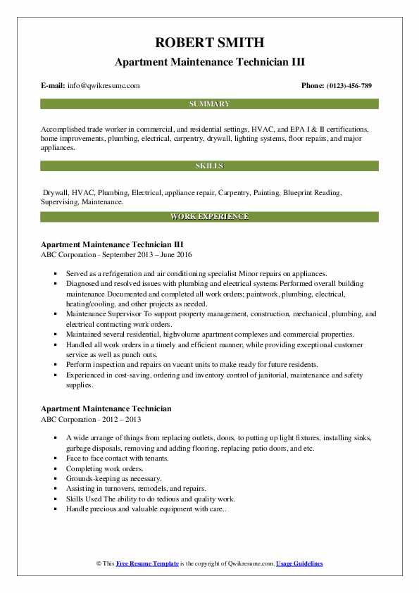 apartment maintenance technician resume samples qwikresume summary pdf pci dss healthcare Resume Apartment Maintenance Technician Resume Summary
