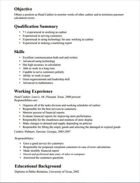 apply job specification cashier description in resume examples business management Resume Cashier Resume Examples
