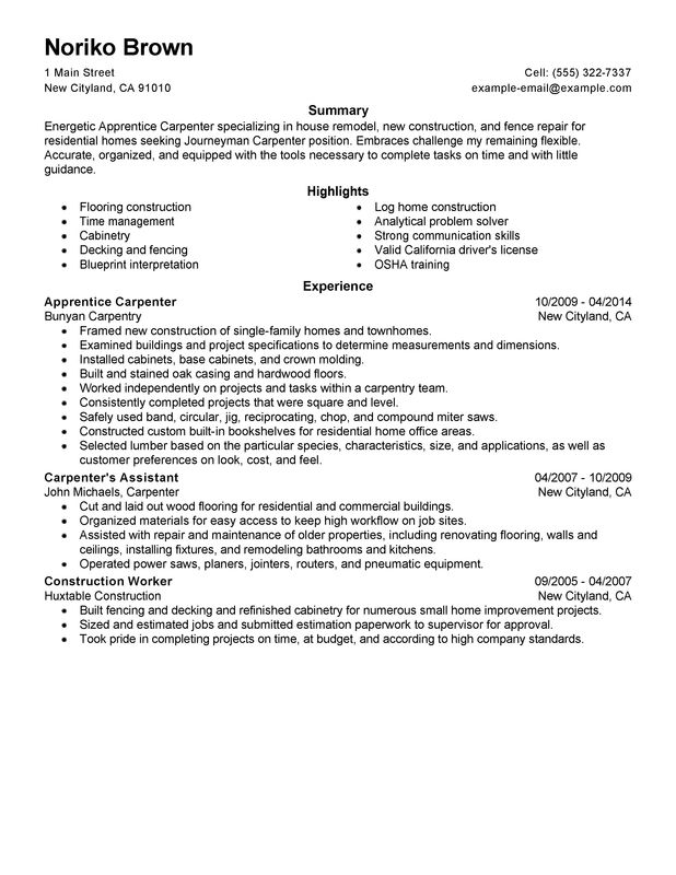 apprentice carpenter resume examples created by pros myperfectresume objective for Resume Resume Objective For Carpenter