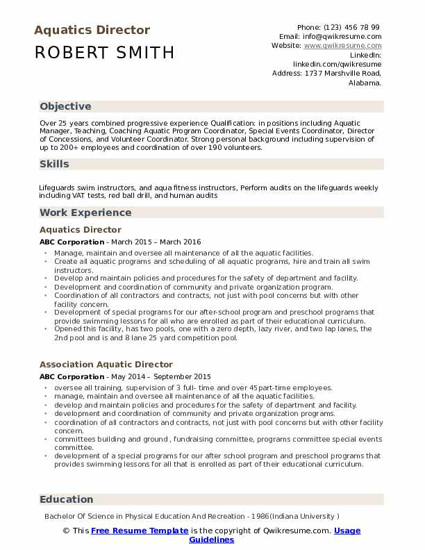 aquatics director resume samples qwikresume recreation pdf lose the land job review Resume Recreation Director Resume