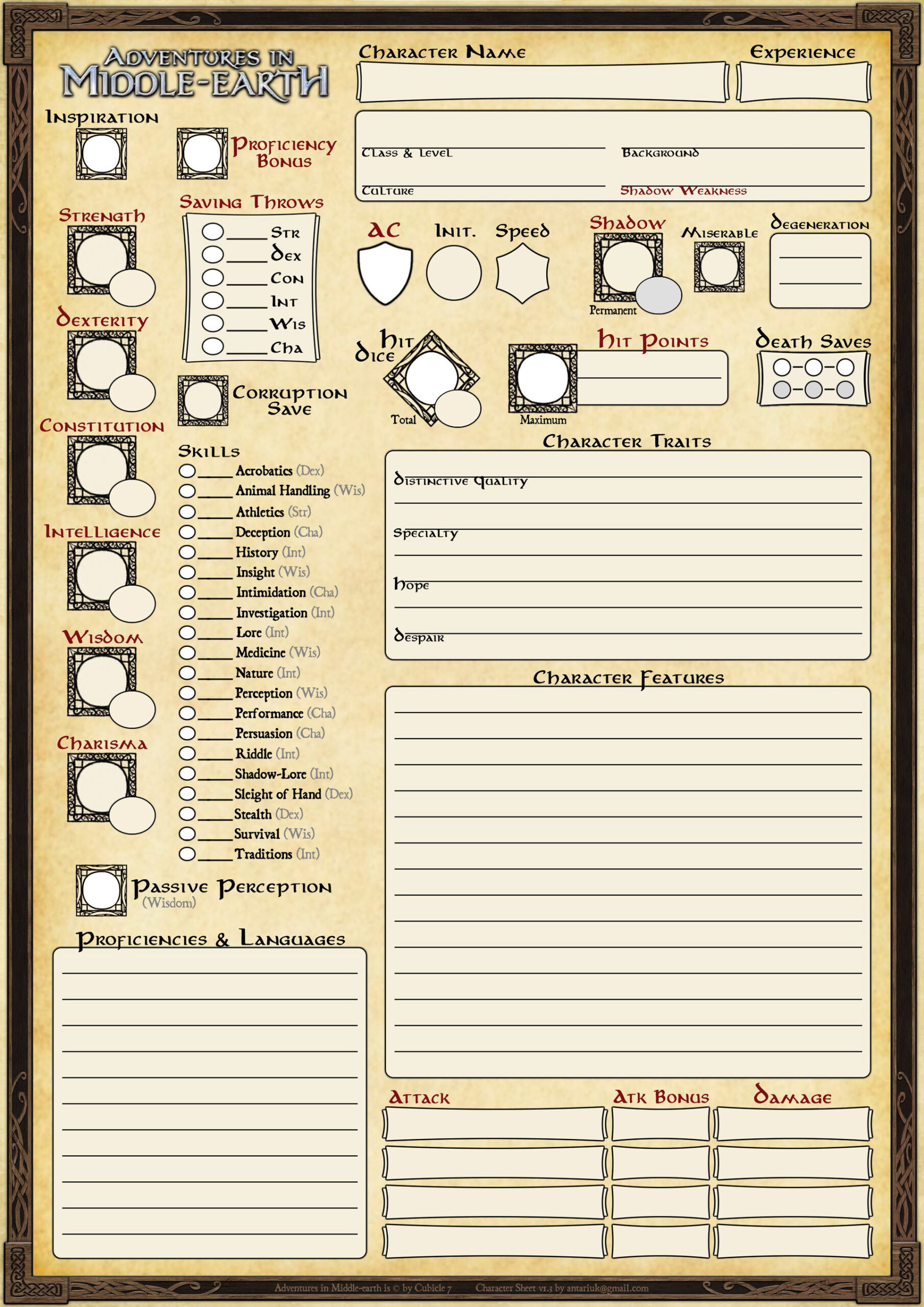 arne haschen adventures in middle earth character sheet resume 3pages color v1 tweet Resume D&d Character Sheet Resume