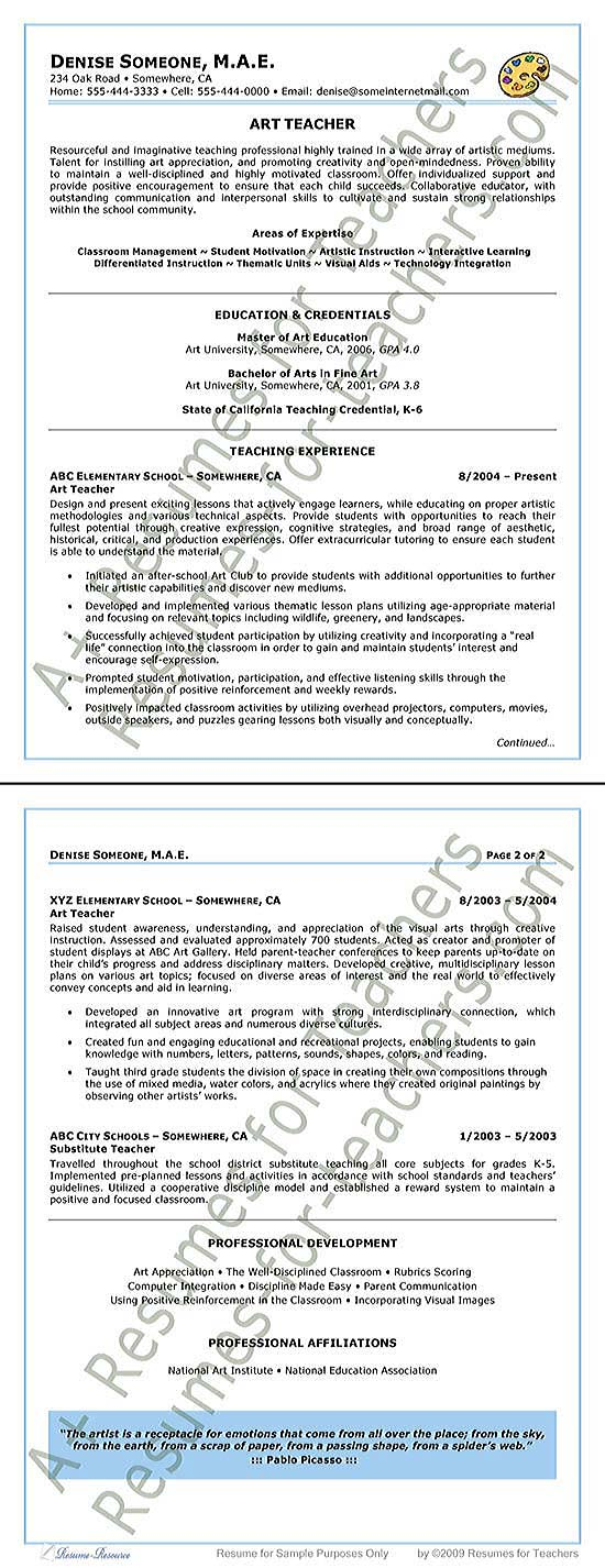 art teacher resume example education examples sample extea7 executive samples free basic Resume Art Education Resume Examples