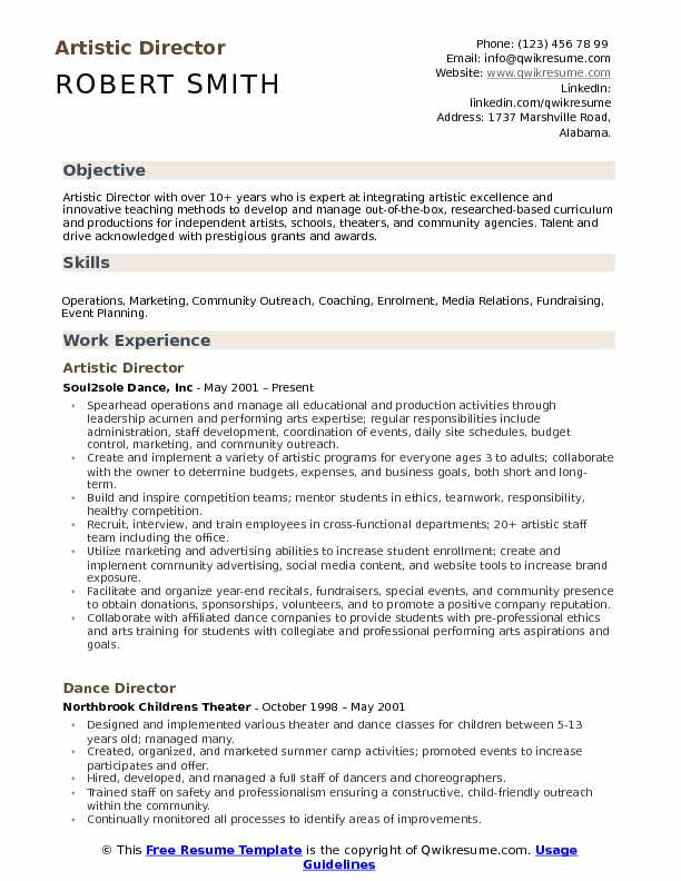 artistic director resume samples qwikresume theater producer pdf entry level anthropology Resume Theater Producer Resume