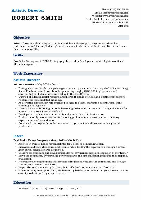 artistic director resume samples qwikresume theater producer pdf family and consumer Resume Theater Producer Resume