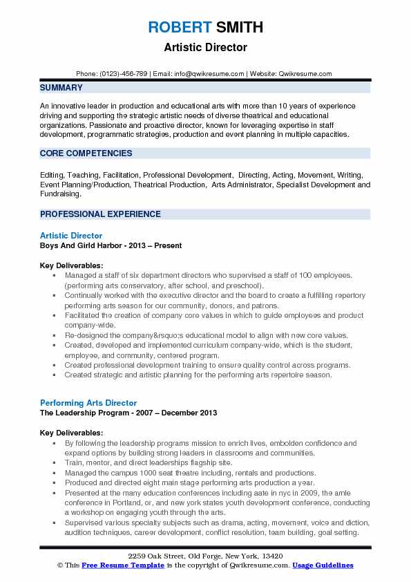 artistic director resume samples qwikresume theater producer pdf library assistant skills Resume Theater Producer Resume
