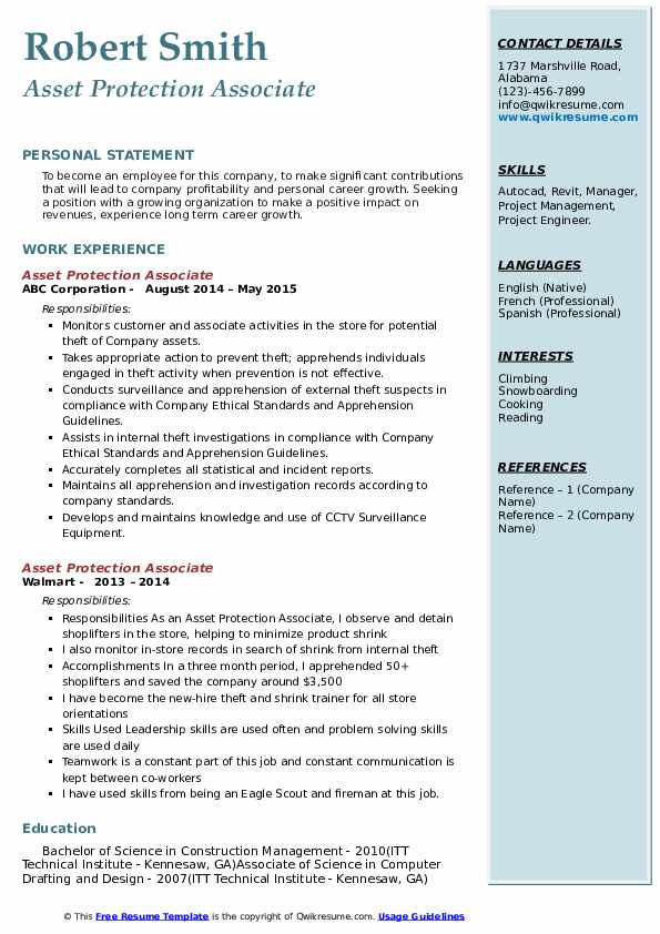 asset protection associate resume samples qwikresume personal assets for pdf biotech Resume Personal Assets For Resume