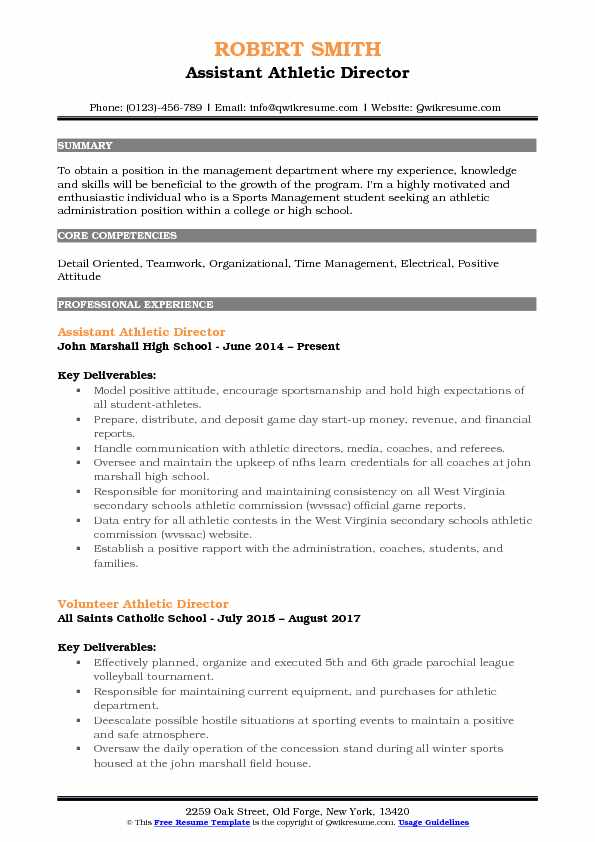 assistant athletic director resume samples qwikresume high school sports template pdf Resume High School Sports Resume Template
