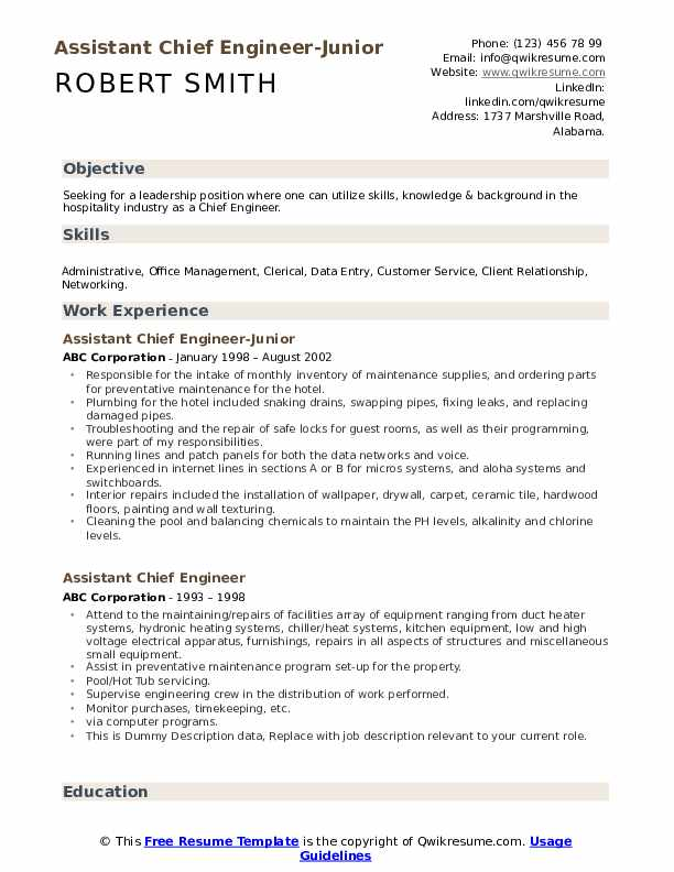 assistant chief engineer resume samples qwikresume marine sample pdf direct support Resume Marine Chief Engineer Resume Sample