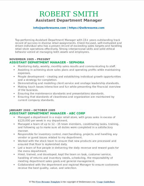 assistant department manager resume samples qwikresume retail examples pdf free Resume Retail Department Manager Resume Examples