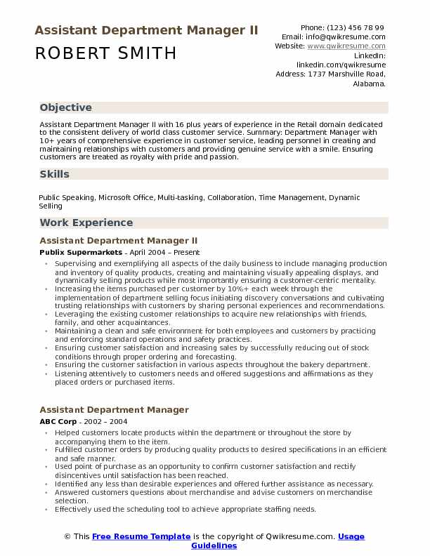 assistant department manager resume samples qwikresume retail examples pdf medical front Resume Retail Department Manager Resume Examples