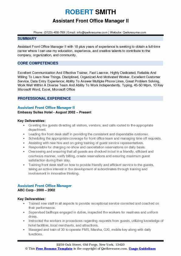 assistant front office manager resume samples qwikresume desk pdf entry level safety Resume Front Desk Manager Resume