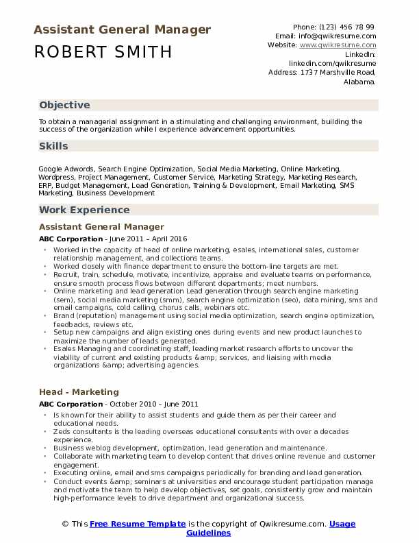 assistant general manager resume samples qwikresume business objective pdf clinical Resume General Business Resume Objective
