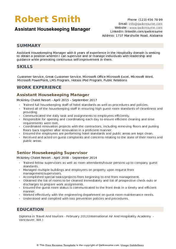 assistant housekeeping manager resume samples qwikresume cleaning service pdf engineering Resume Cleaning Service Manager Resume