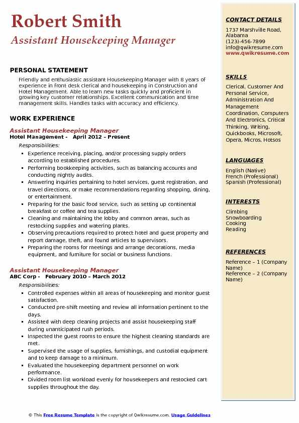assistant housekeeping manager resume samples qwikresume pdf indian army ex servicemen Resume Housekeeping Manager Resume