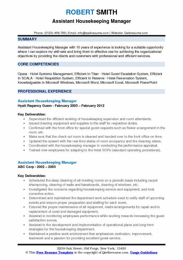 assistant housekeeping manager resume samples qwikresume pdf skill set template parsing Resume Housekeeping Manager Resume