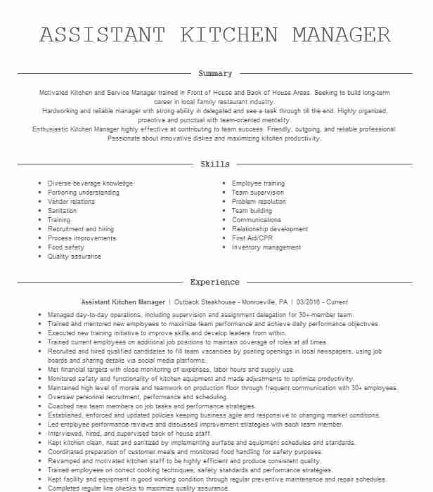 assistant kitchen manager resume example applebee jeffersonville summary funeral director Resume Kitchen Manager Resume Summary