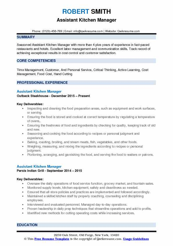 assistant kitchen manager resume samples qwikresume summary pdf graduate business analyst Resume Kitchen Manager Resume Summary