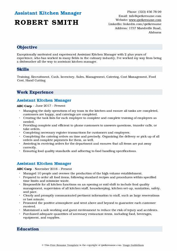 assistant kitchen manager resume samples qwikresume summary pdf school examples value Resume Kitchen Manager Resume Summary