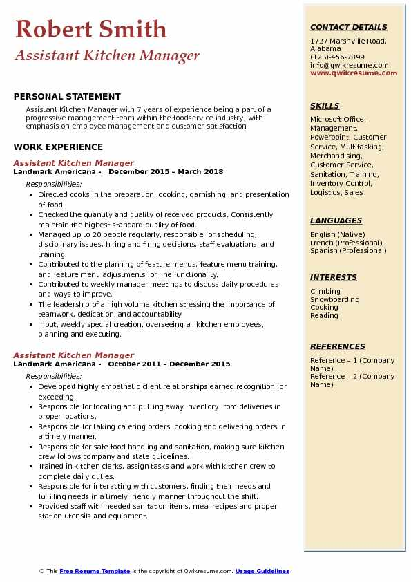 assistant kitchen manager resume samples qwikresume summary pdf skills for admin social Resume Kitchen Manager Resume Summary