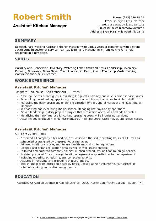 assistant kitchen manager resume samples qwikresume summary pdf skills for admin Resume Kitchen Manager Resume Summary