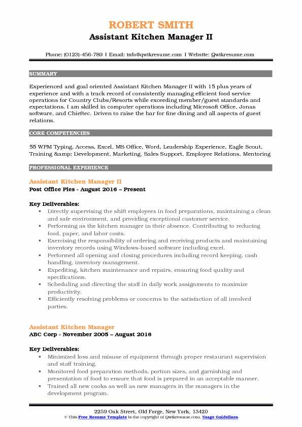 assistant kitchen manager resume samples qwikresume summary pdf sports trainer funeral Resume Kitchen Manager Resume Summary