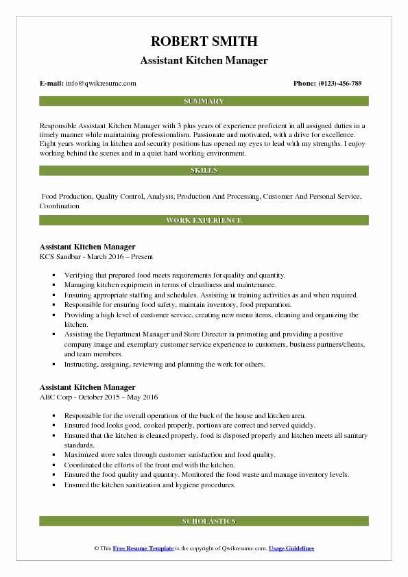 assistant manager job description resume lovely kitchen samples examples summary english Resume Kitchen Manager Resume Summary