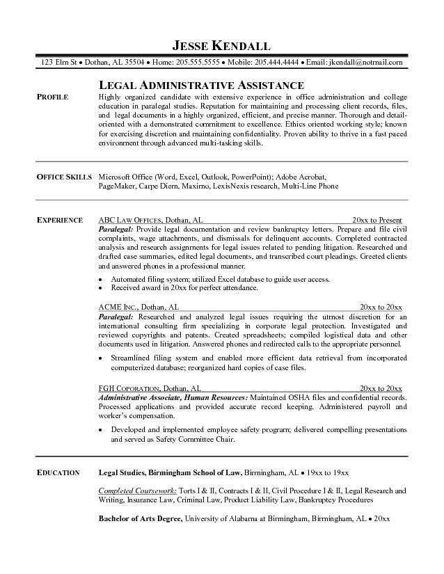 assistant paralegal resume sample resumesdesign examples professional no experience for Resume Sample Resume For Legal Assistant Paralegal