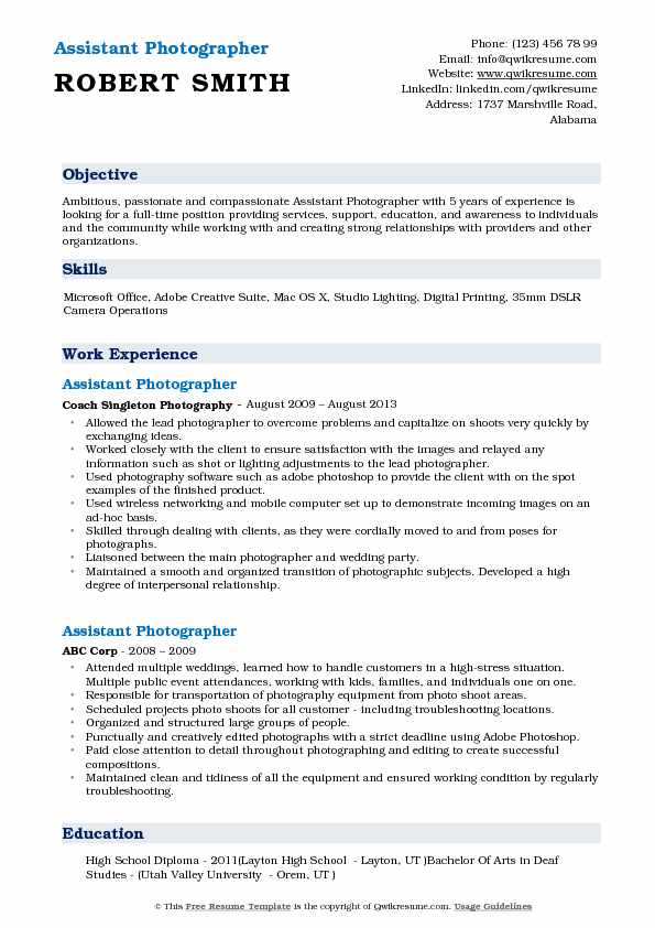 assistant photographer resume samples qwikresume photography objective examples pdf agile Resume Photography Resume Objective Examples